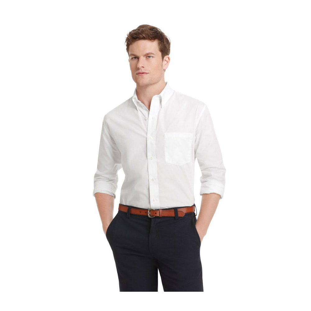 IZOD Men's Essential Solid Woven Shirt - 100-WHITE