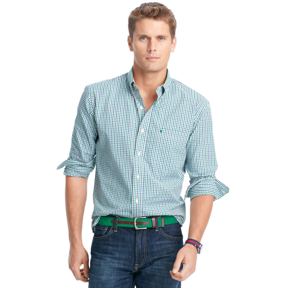 IZOD Men's Essential Tattersall Button-Down Woven Shirt - 322-VERD GRN