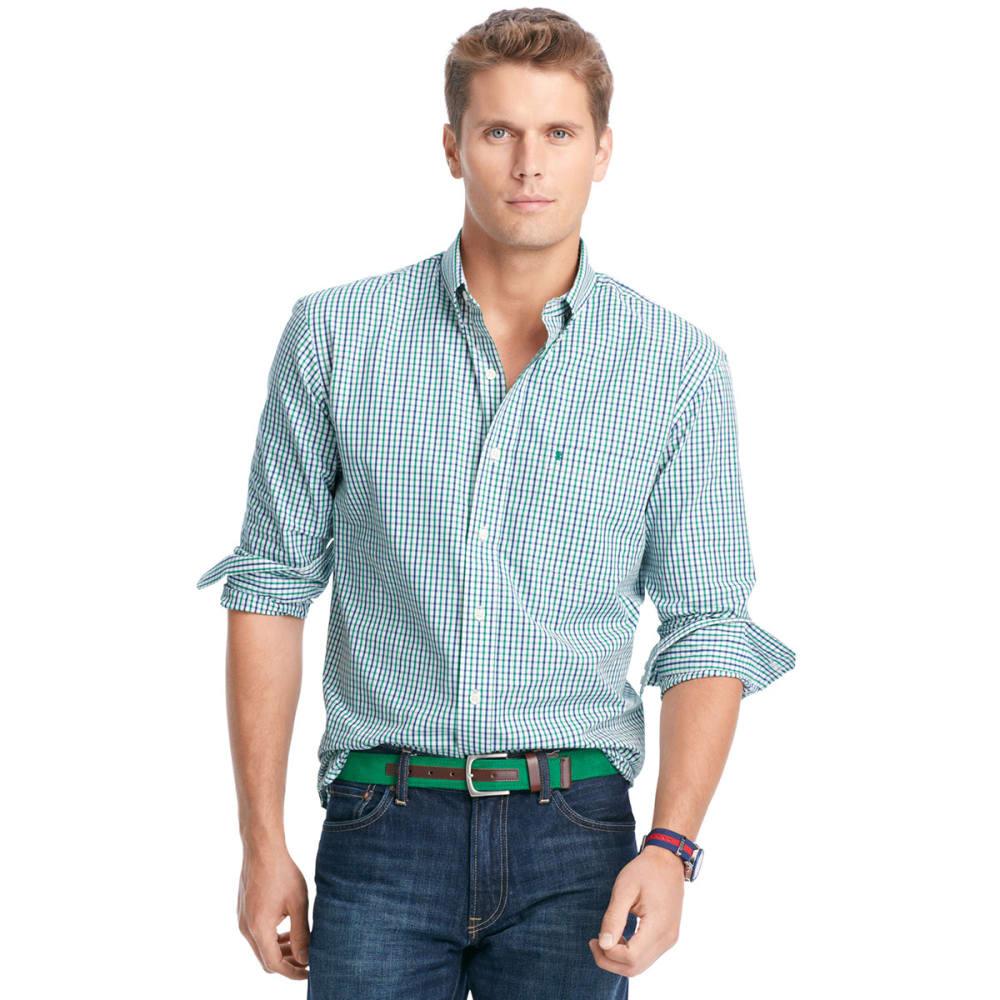 IZOD Men's Essential Tattersall Button-Down Woven Shirt - 322-VERD GRN