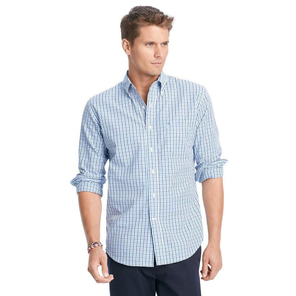 IZOD Men's Essential Tattersall Button-Down Woven Shirt - 420-AMER DREAM