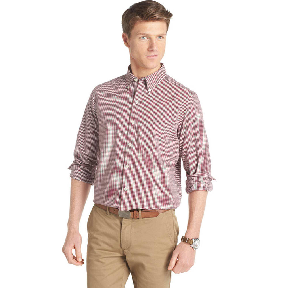 IZOD Men's Slim Essential Tattersal Woven Shirt - CHOCOLATE TRUFFLE