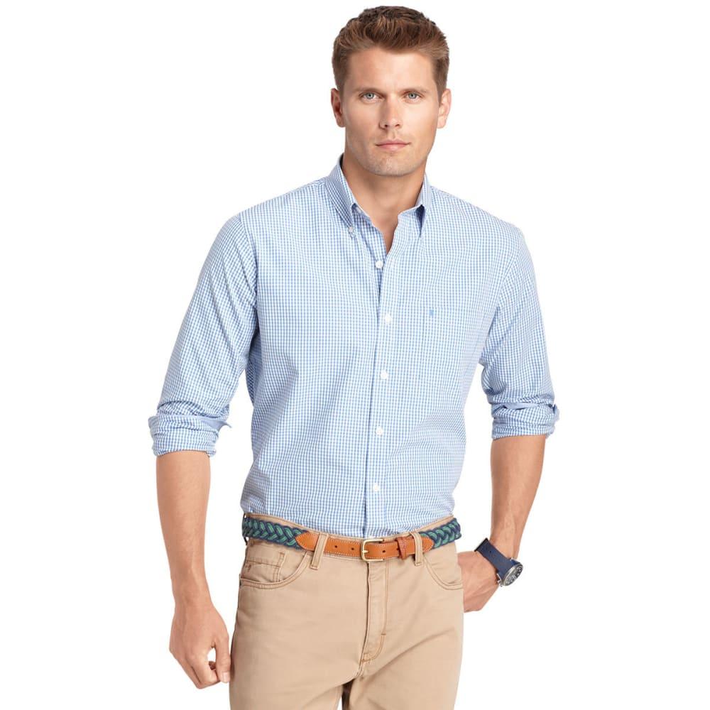 IZOD Men's Slim Essential Tattersal Woven Shirt - SCATTER/VOLCANO