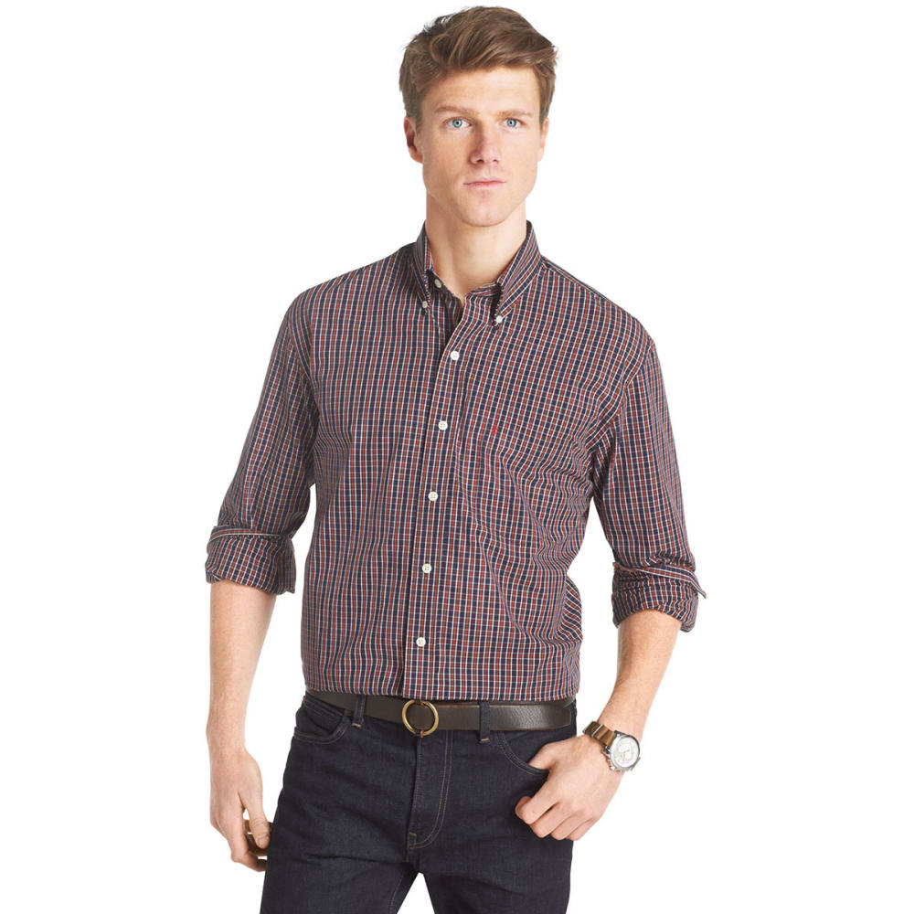 IZOD Men's Road Trip Essential Plaid Woven Shirt - BIRCH