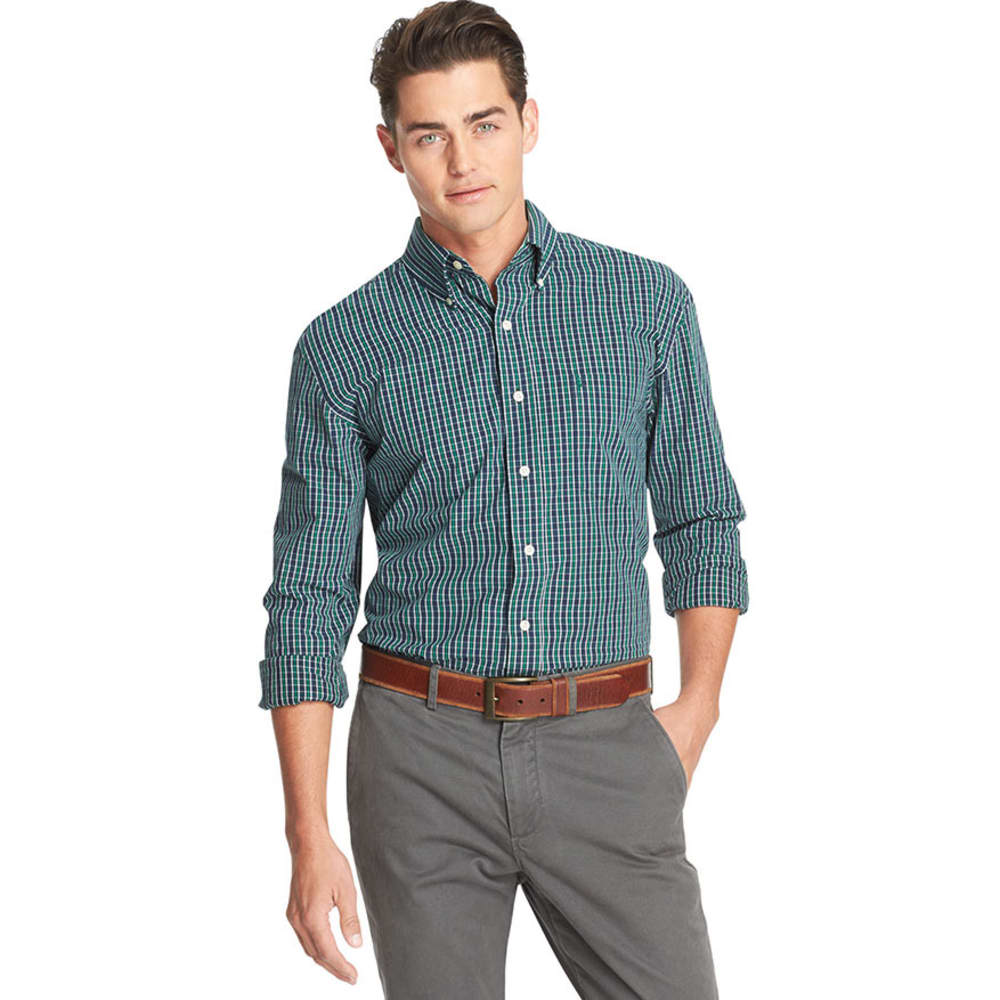 IZOD Men's Road Trip Essential Plaid Woven Shirt - EVERGREEN