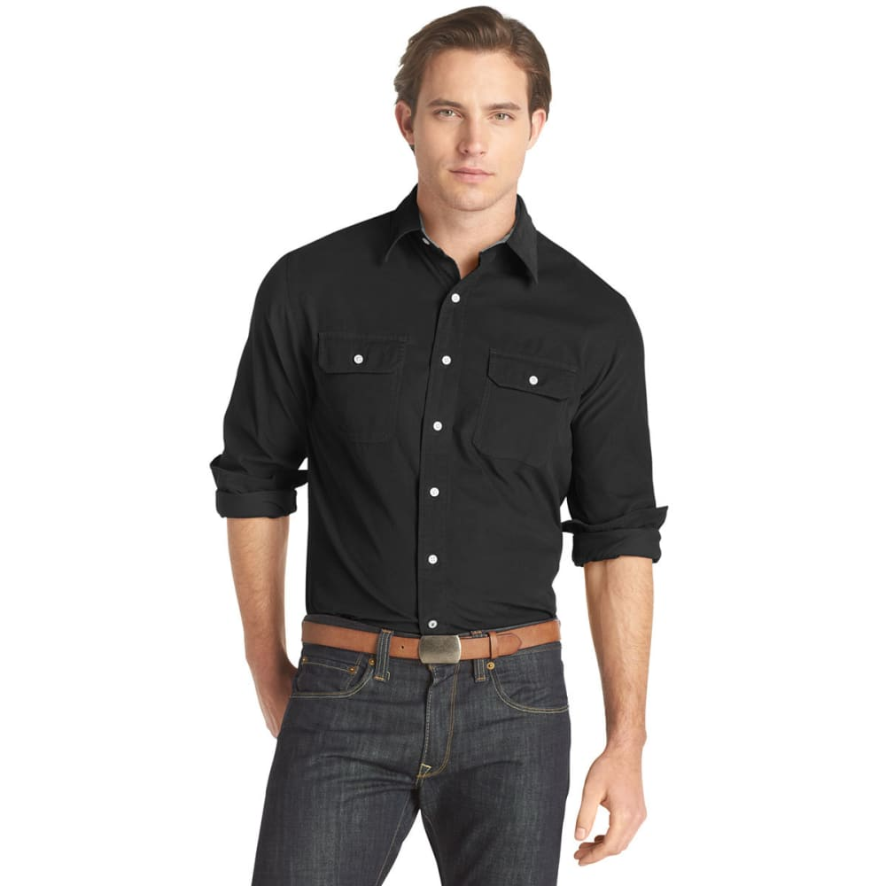 IZOD Men's Solid Corduroy Casual Button-Down Shirt - FRONDS BLACK