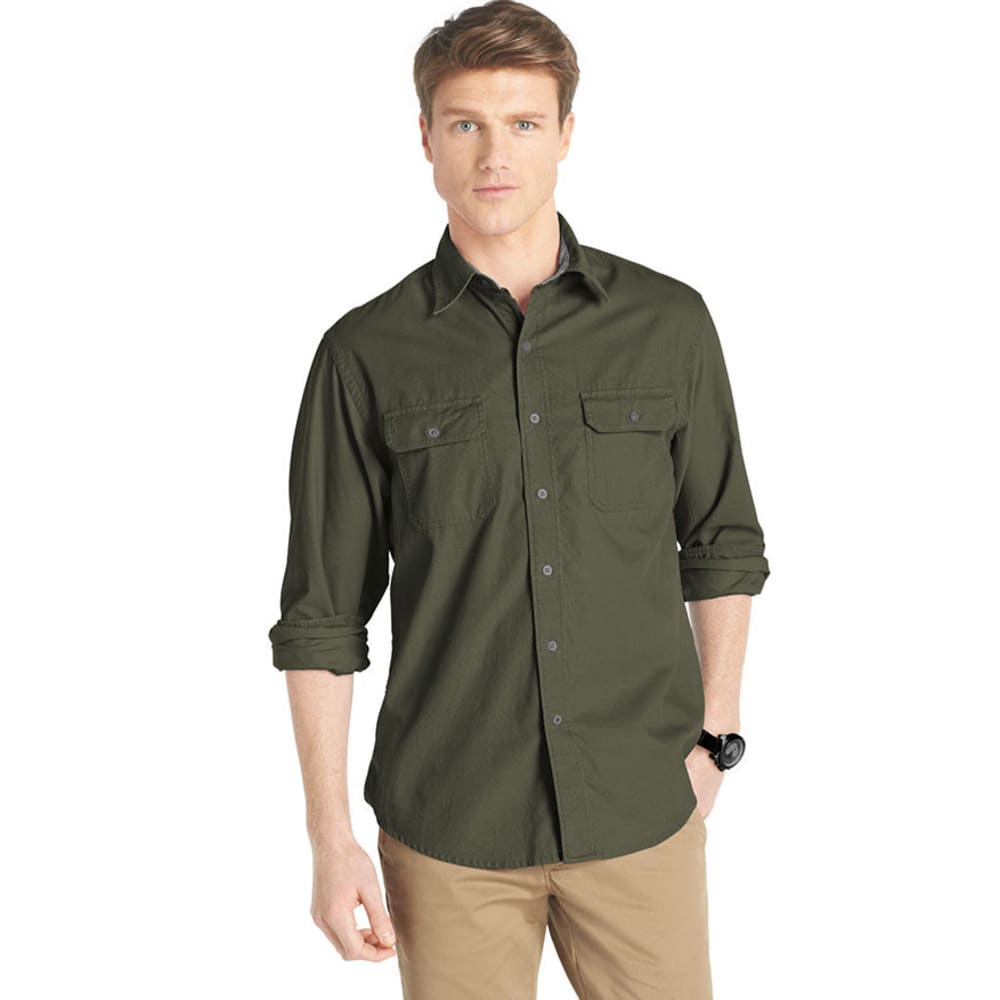 IZOD Men's Solid Corduroy Casual Button-Down Shirt - DARK GREEN