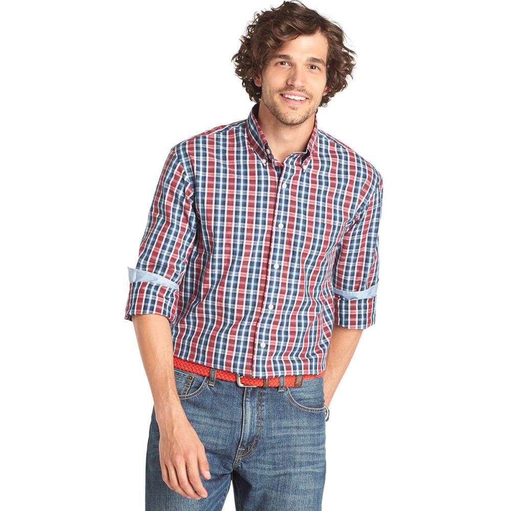 IZOD Men's Big and Tall Fashion Plaid Button-Down Shirt - RED