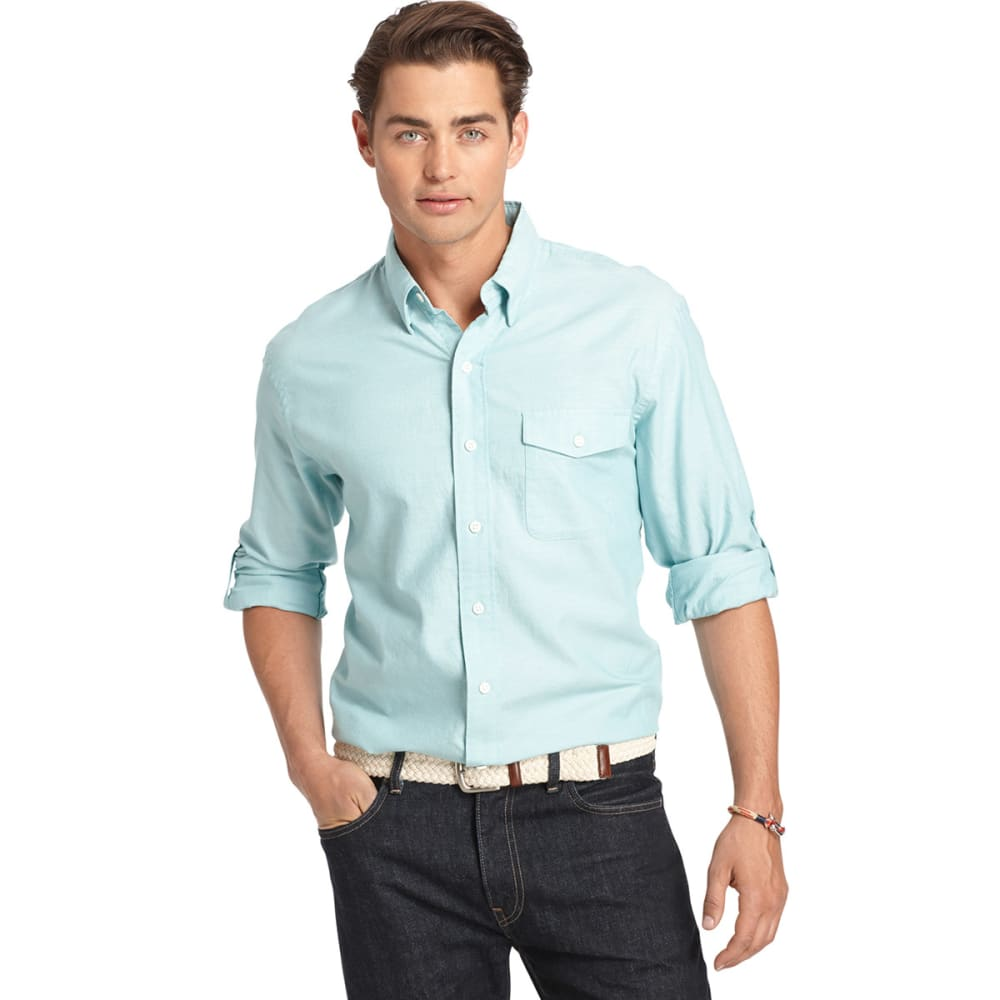 IZOD Men's Long Sleeve Seaside Woven Shirt - AGATE GREEN-367
