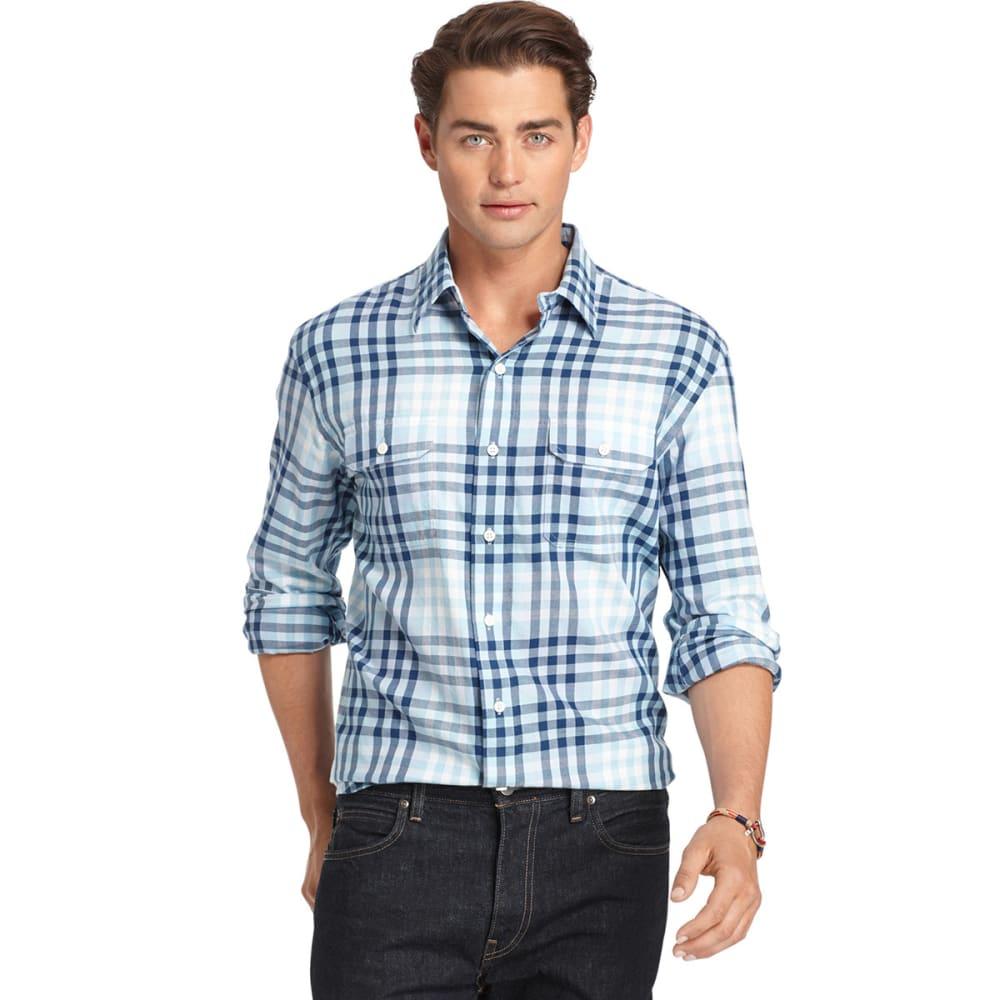 IZOD Men's Long Sleeve Seaside Woven Shirt - BRUNNERA BLUE-456
