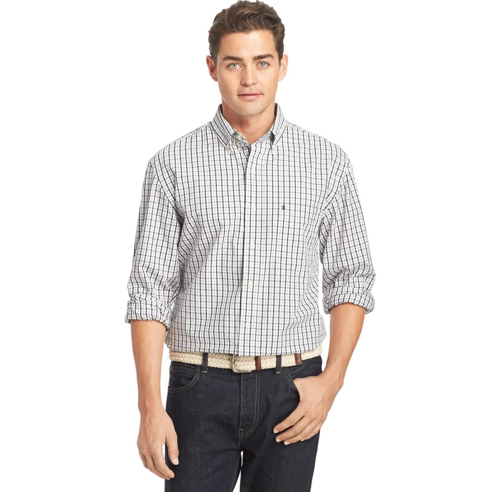 IZOD Men's Essential Long-Sleeve Tattersall Woven Shirt - BLACK-001