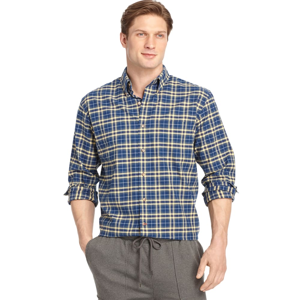 IZOD Men's Tartan Button-Down Woven Shirt - ESTATE BLUE/YLLW-403