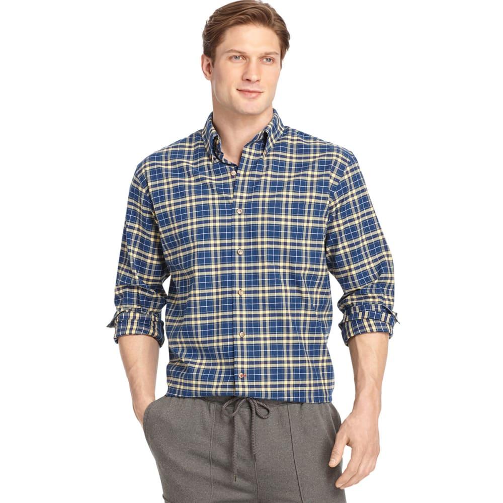 IZOD Men's Tartan Button-Down Woven Shirt - ESTATE BLUE/YLLW-403