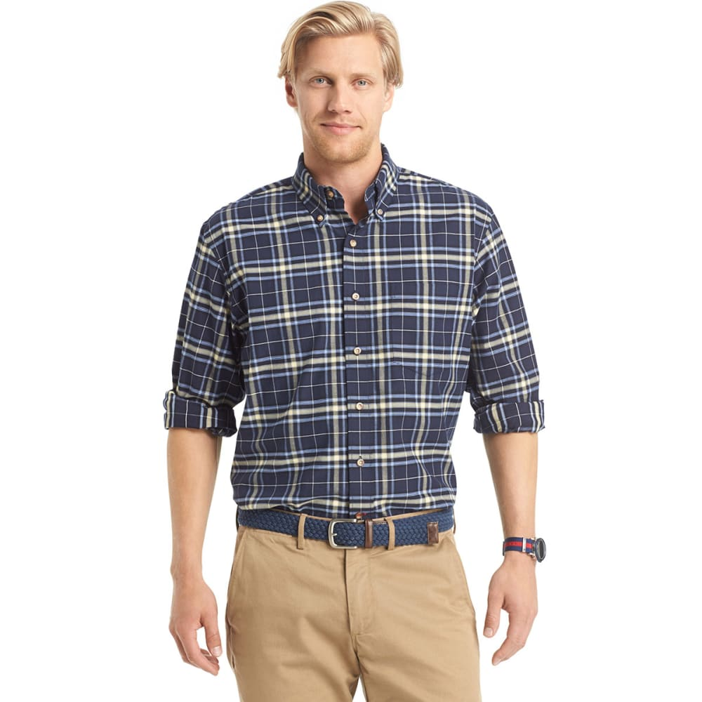 IZOD Men's Tartan Button-Down Woven Shirt - MIDNIGHT/YELLOW-408