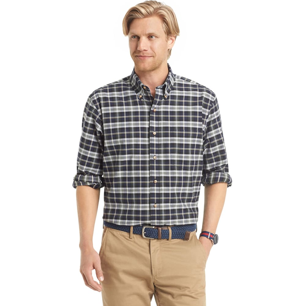 IZOD Men's Tartan Button-Down Woven Shirt - KOMBU GREEN-303