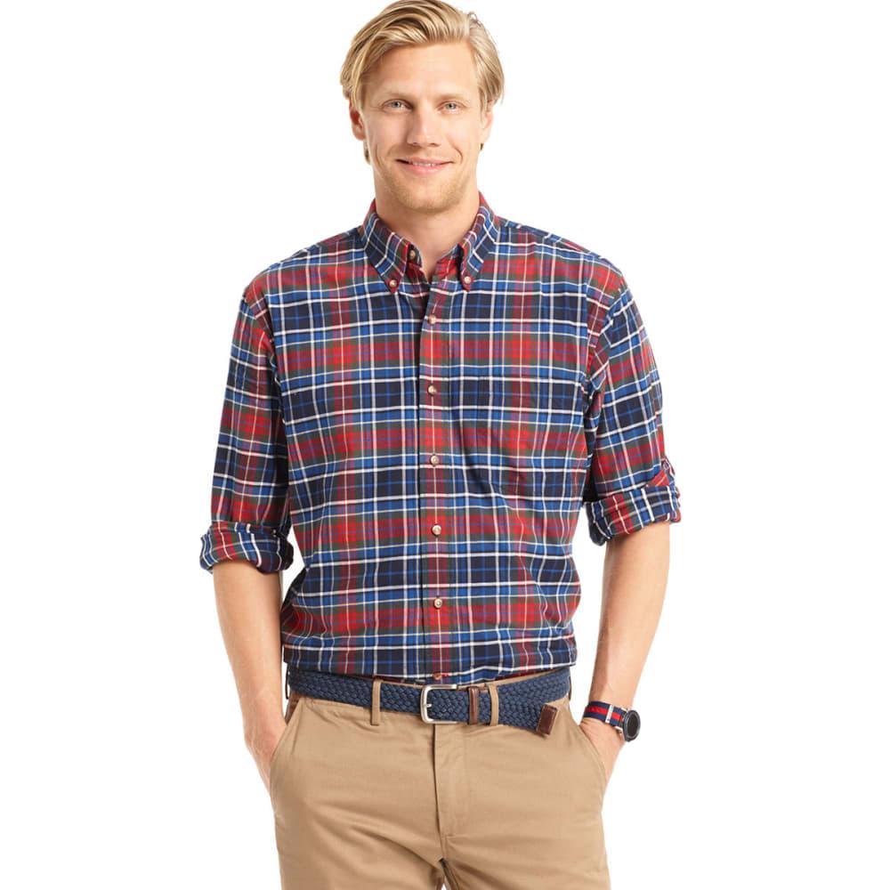 IZOD Men's Tartan Button-Down Woven Shirt - MIDNIGHT-408