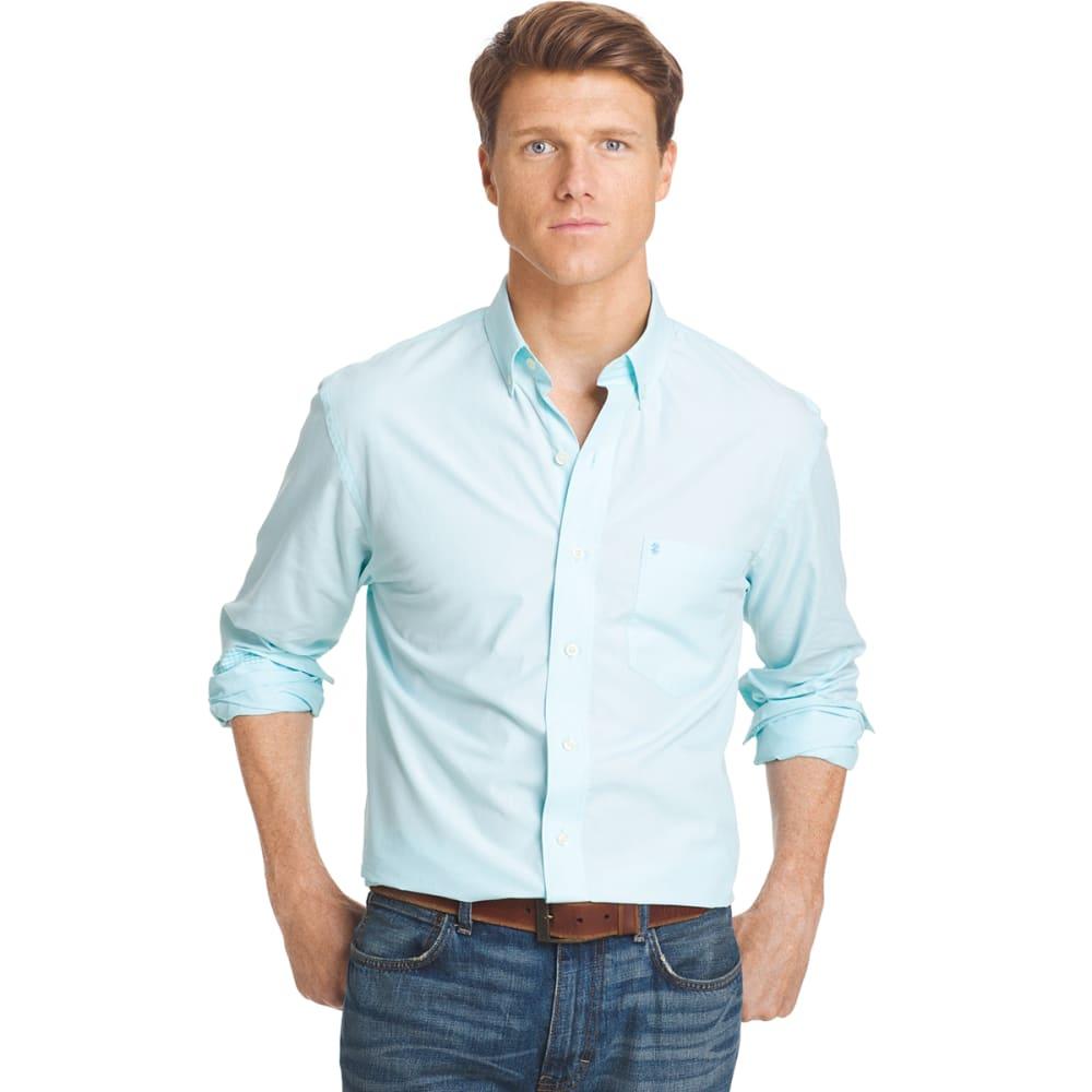 IZOD Men's Essential Peached Poplin Shirt - 477-BLUE RADIANCE