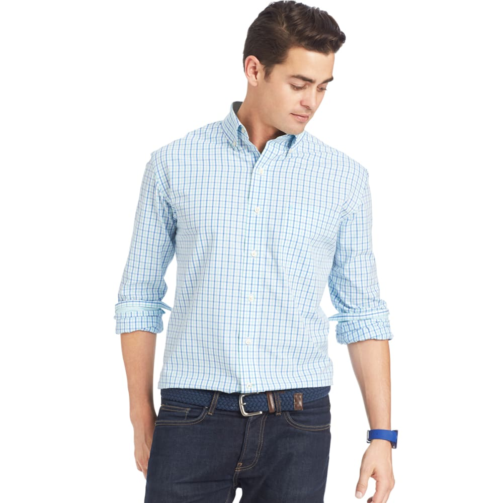 IZOD Men's Tattersall Plaid Woven Shirt - 458-AQUA SKY