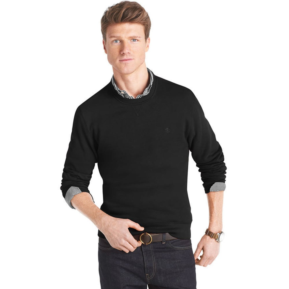 IZOD Men's Big and Tall Sueded Fleece Top - VALUE DEAL - BLACK
