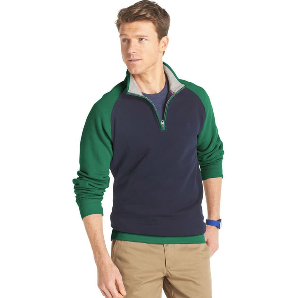 IZOD Men's Sueded 1/4 Zip Raglan Sleeve Fleece - EVERGREEN