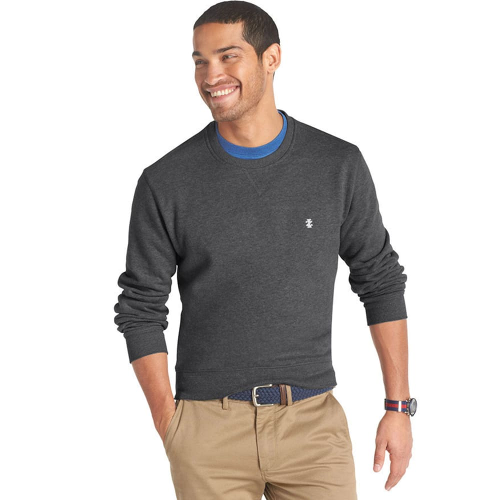 IZOD Men's Sueded Fleece Crew Pullover - CARBON HEATHER
