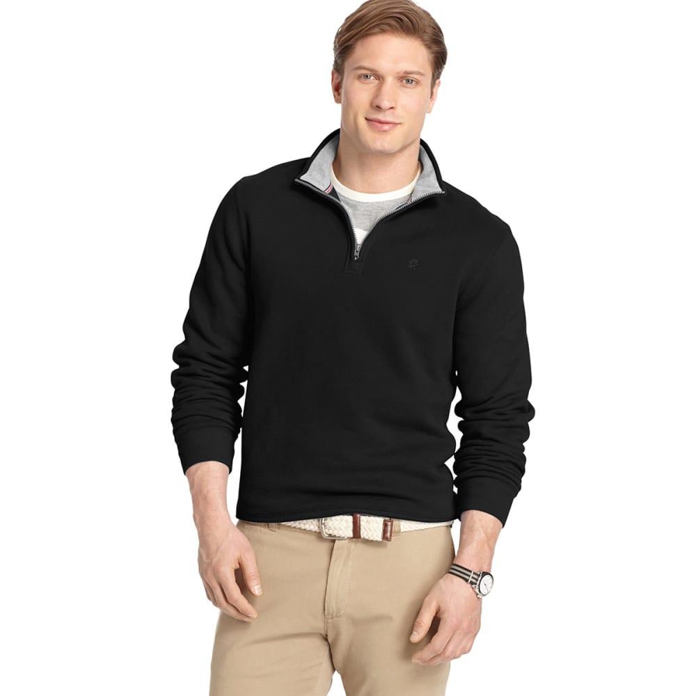 IZOD Men's Sueded ¼ Zip Raglan Sleeve Fleece - BLACK