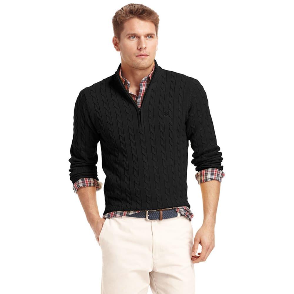 IZOD Men's Cable 1/4 Zip Sweater - BLACK