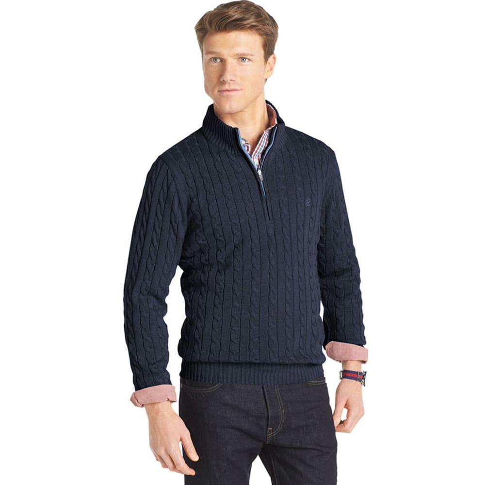 IZOD Men's Cable 1/4 Zip Sweater - MIDNIGHT