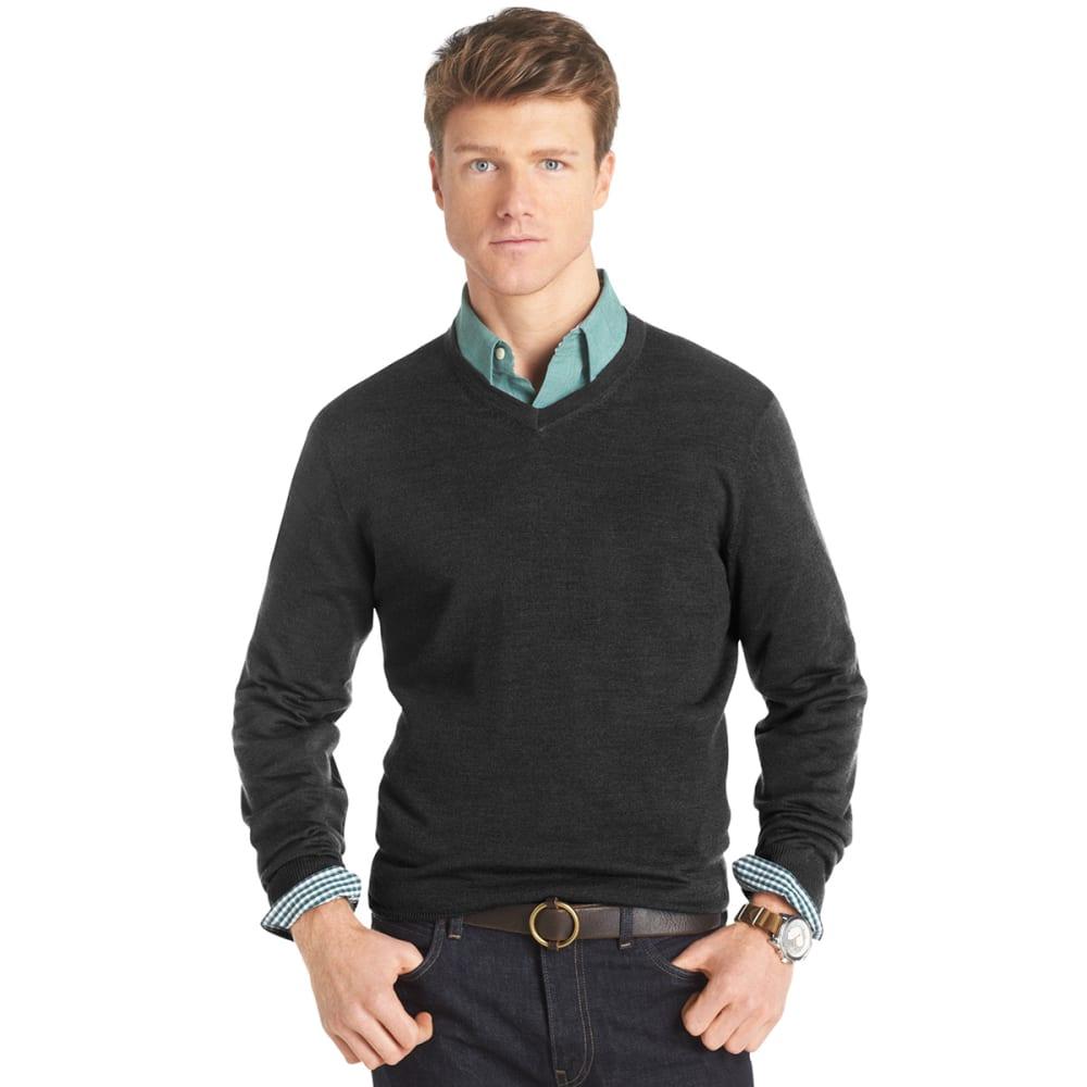 IZOD Men's Long-Sleeve V-Neck Merino Sweater - CHARCOAL