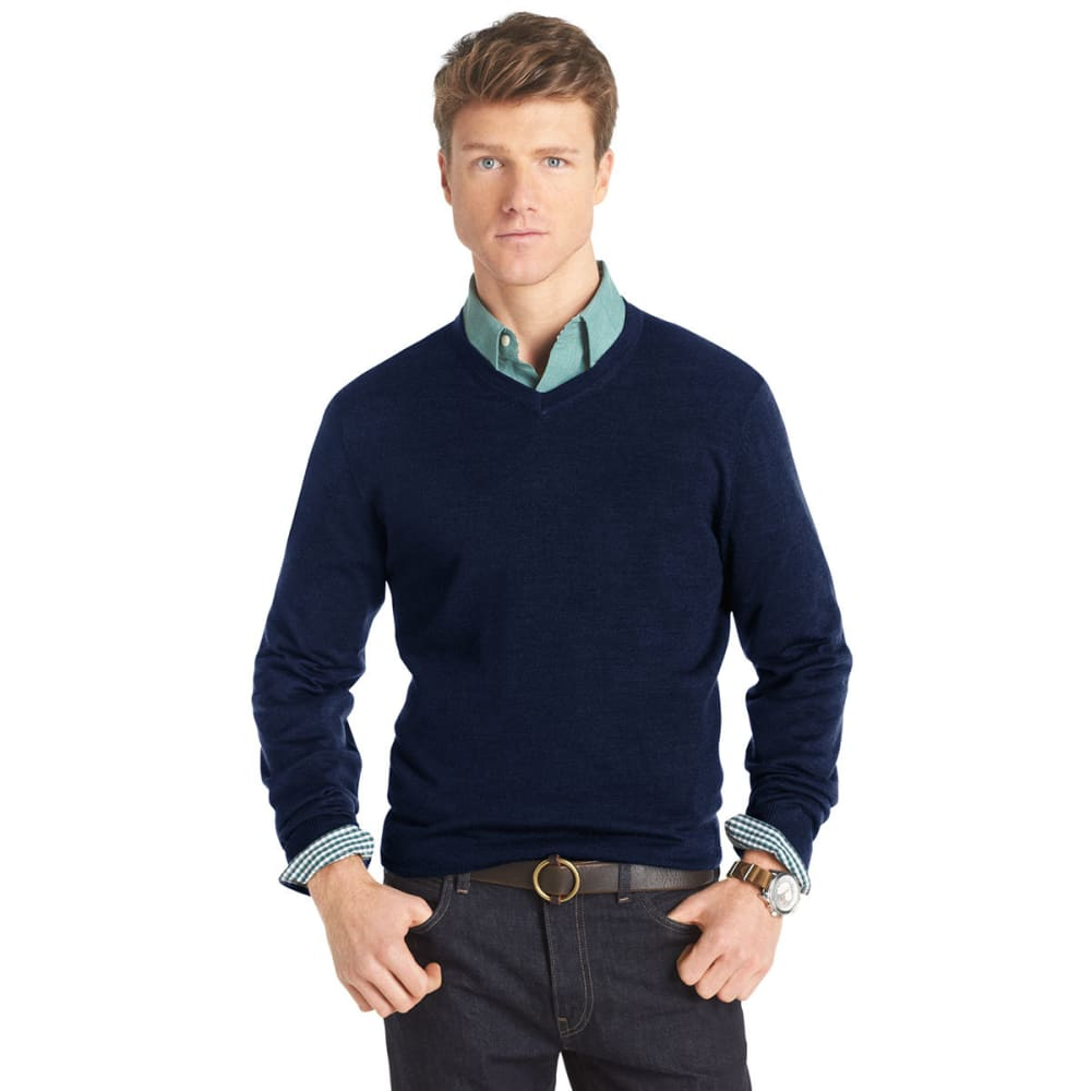 IZOD Men's Long-Sleeve V-Neck Merino Sweater - HORIZON BLUE