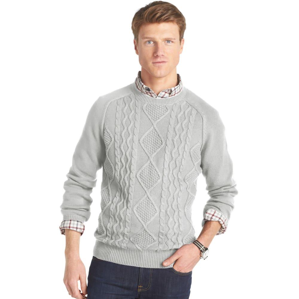 IZOD Men's Stratton Cable Crew Neck Sweater - LIGHT GREY HEATHER