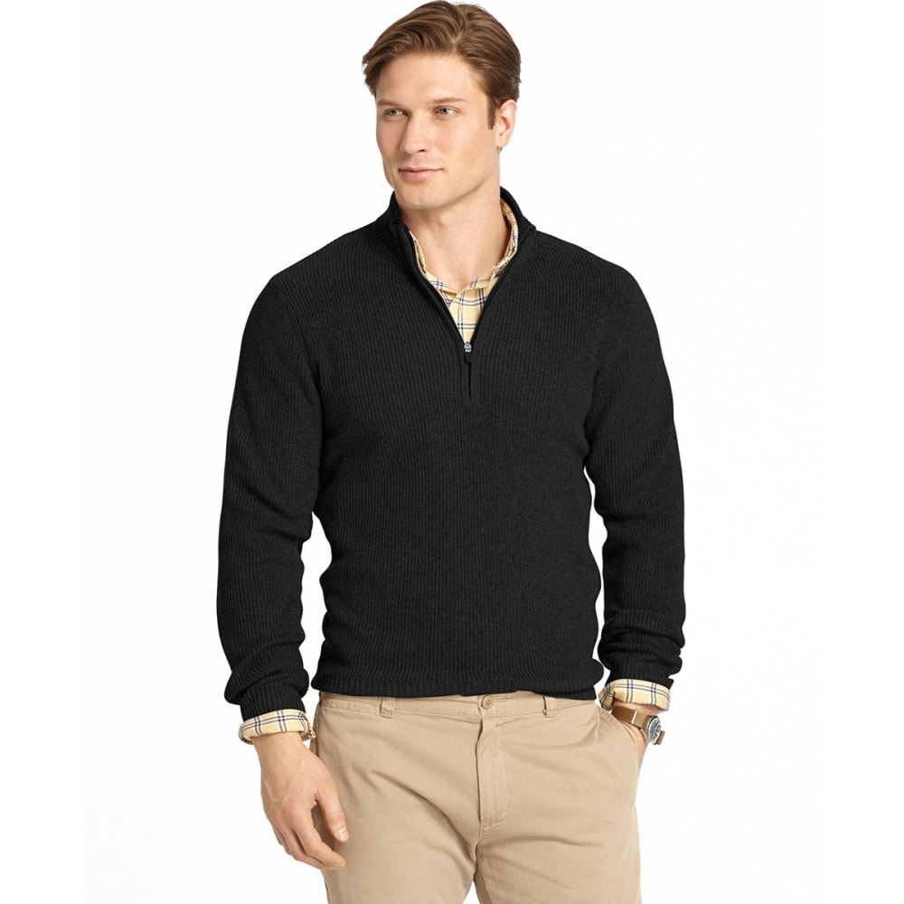 IZOD Men's Solid Shaker ¼ Zip Sweater - BLACK HEATHER