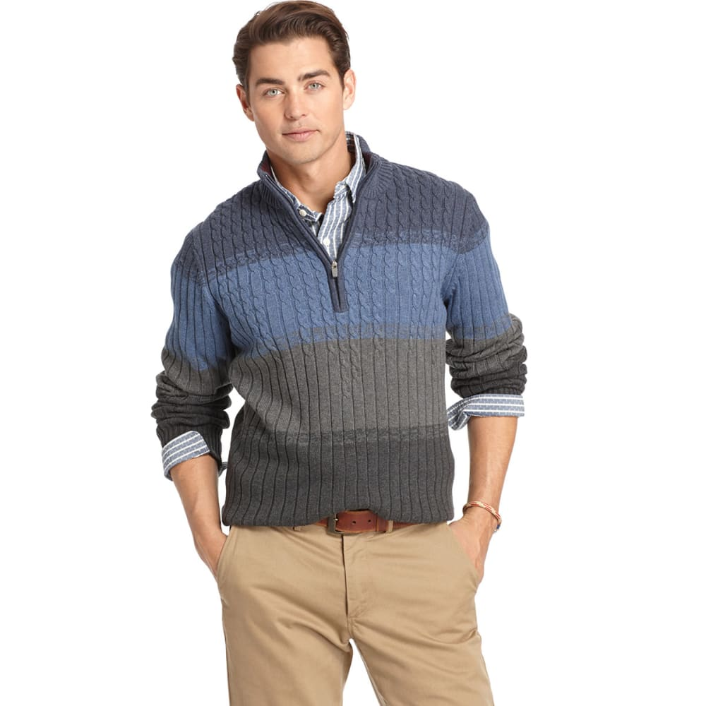 IZOD Men's Cable ¼ Zip Sweater - DARK INDIGO HEATHER