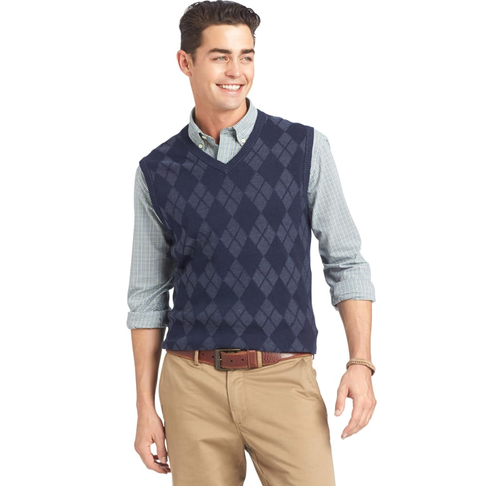 IZOD Men's Fine Gauge Argyle Sweater Vest - MIDNIGHT