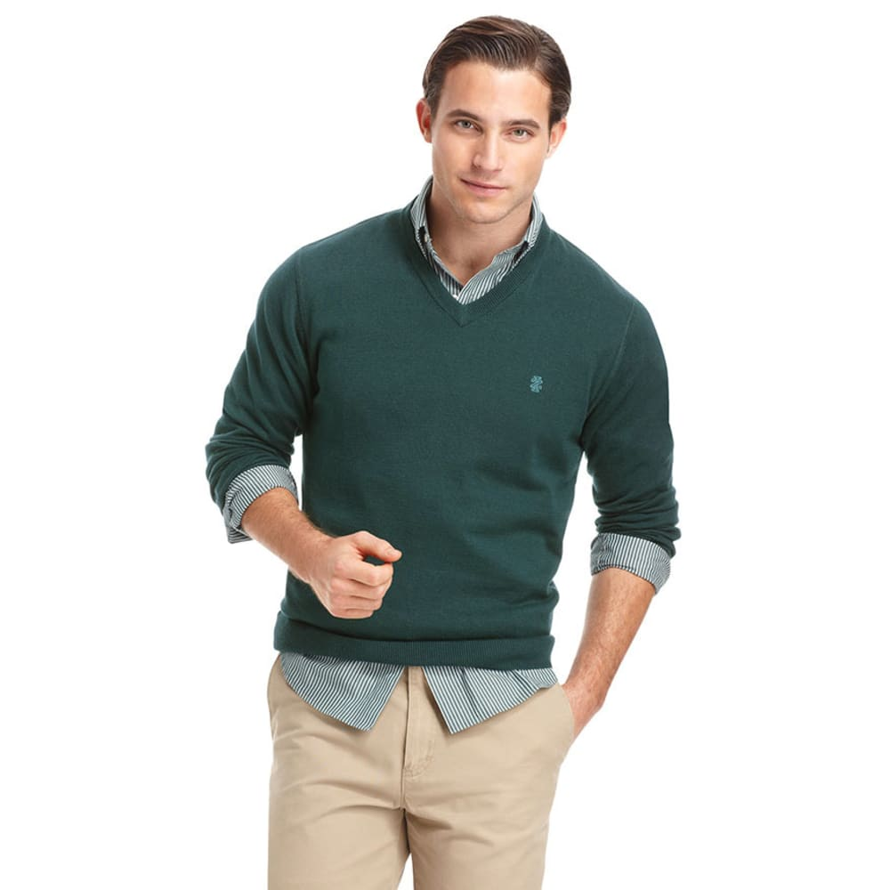 IZOD Men's Big And Tall V-Neck Fine Gauge Sweater - PINE GREEN