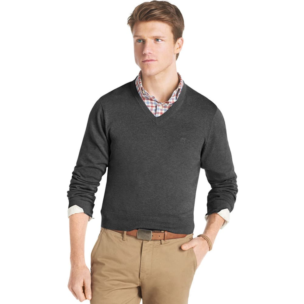 IZOD Men's Big and Tall Essential V-Neck Sweater - CHARCOAL