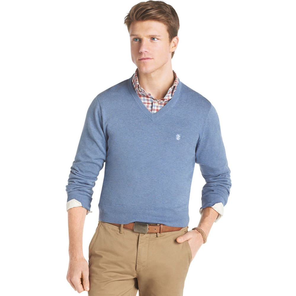 IZOD Men's Big and Tall Essential V-Neck Sweater - BLUE HEATHER