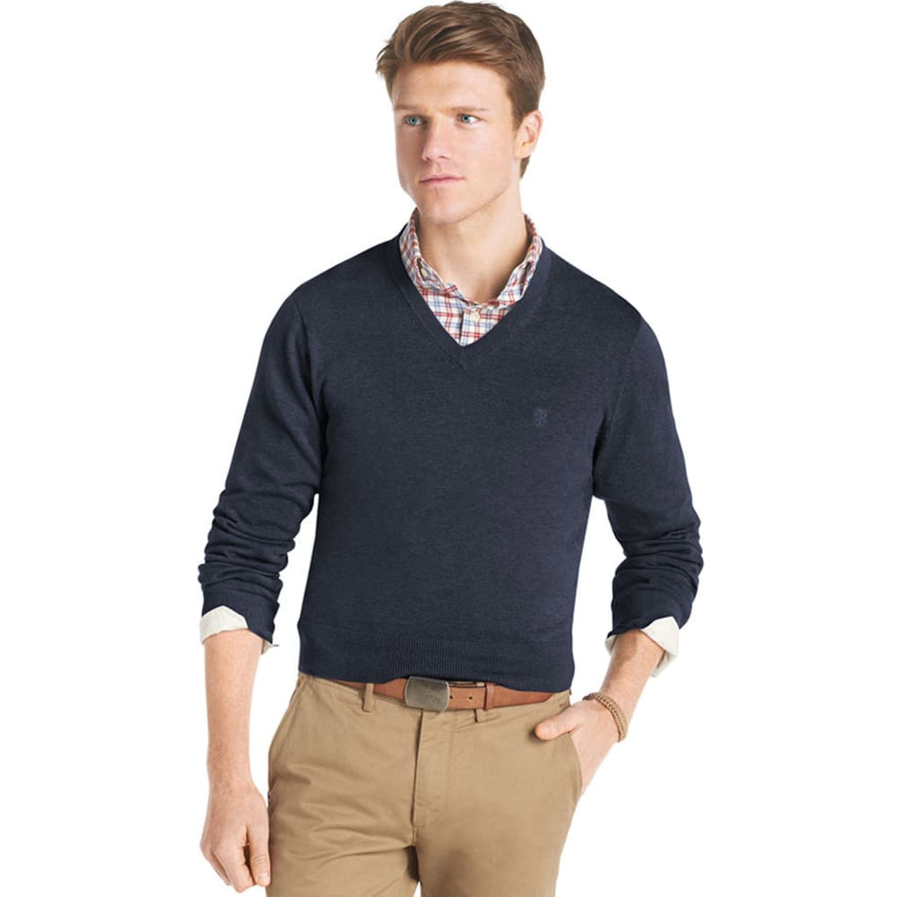 IZOD Men's Big and Tall Essential V-Neck Sweater - NAVY