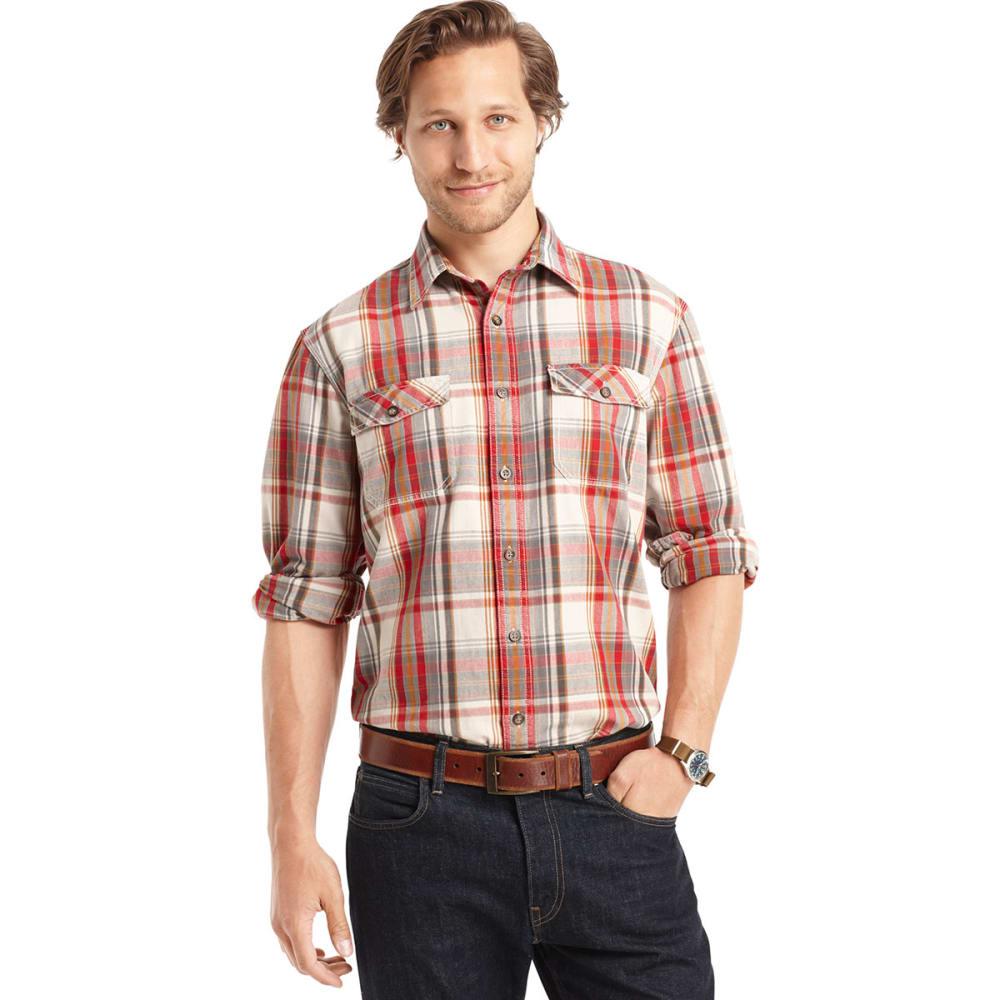 G.H. BASS & CO. Men's Twill Button-Down Shirt - GREY HOUNDSTOOTH
