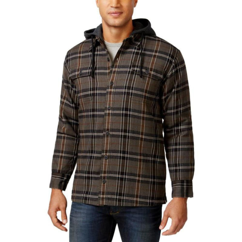 G.H. BASS & CO. Men's Hooded Flannel - PEWTER