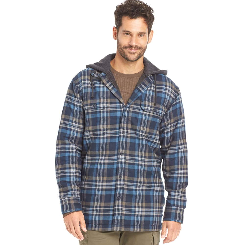 G.H. BASS & CO. Men's Hooded Flannel - BLUE WAVE