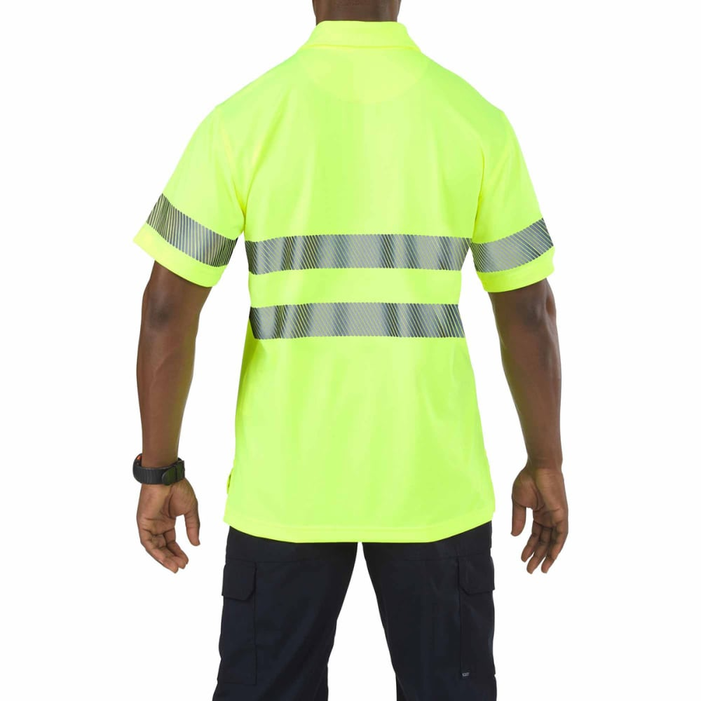 5.11 INC Men's High Visibility Polo - COMBAT GREEN/BLACK
