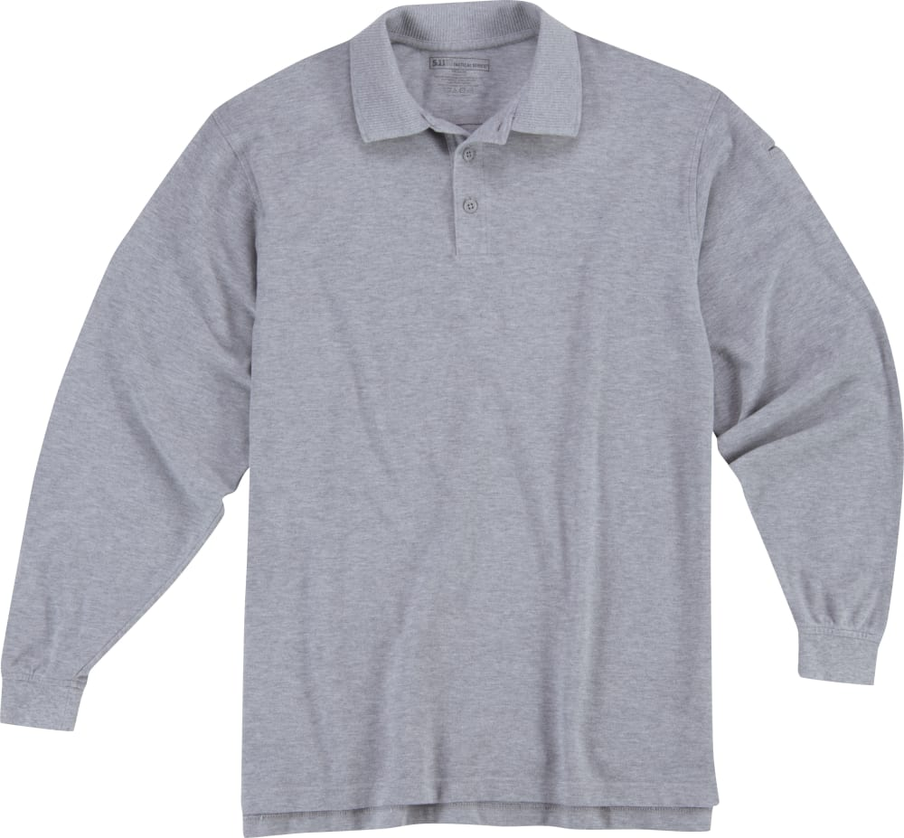 5.11 INC Men's Long Sleeve Utility Polo - HEATHER GREY