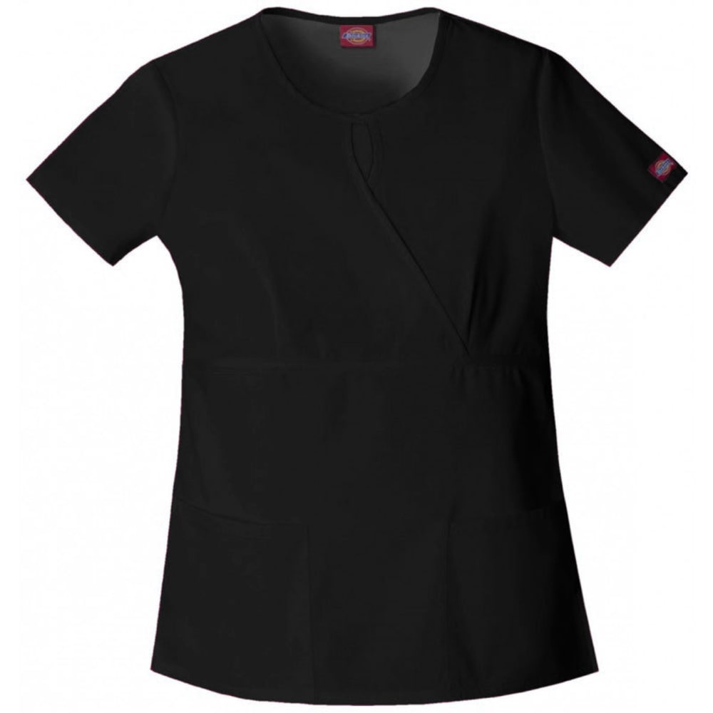 DICKIES Women's Everyday Scrub Keyhole Mock Wrap Top - BLACK