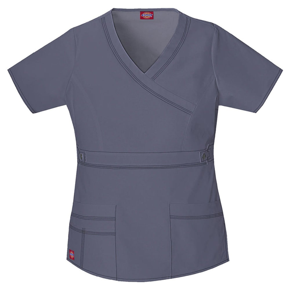 DICKIES Women's Youtility Blend Mock Wrap Scrub Top, Extended sizes - PEWTER