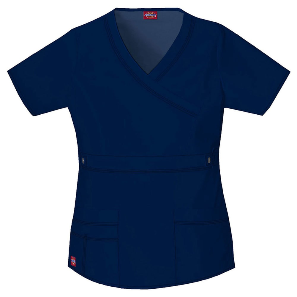 DICKIES Women's Youtility Blend Mock Wrap Scrub Top, Extended sizes - NAVY