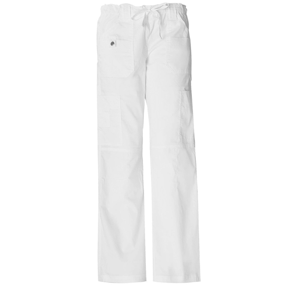 DICKIES Women's Petite Junior Fit 9 Pocket Youtility Pants - WHITE