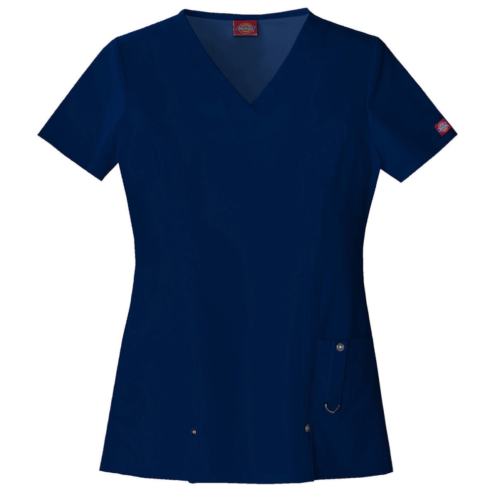 DICKIES Women's Xtreme Stretch V-Neck Top - NAVY
