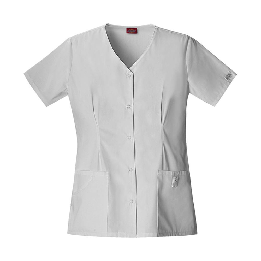 DICKIES Women's EDS Snap Front Top - WHITE