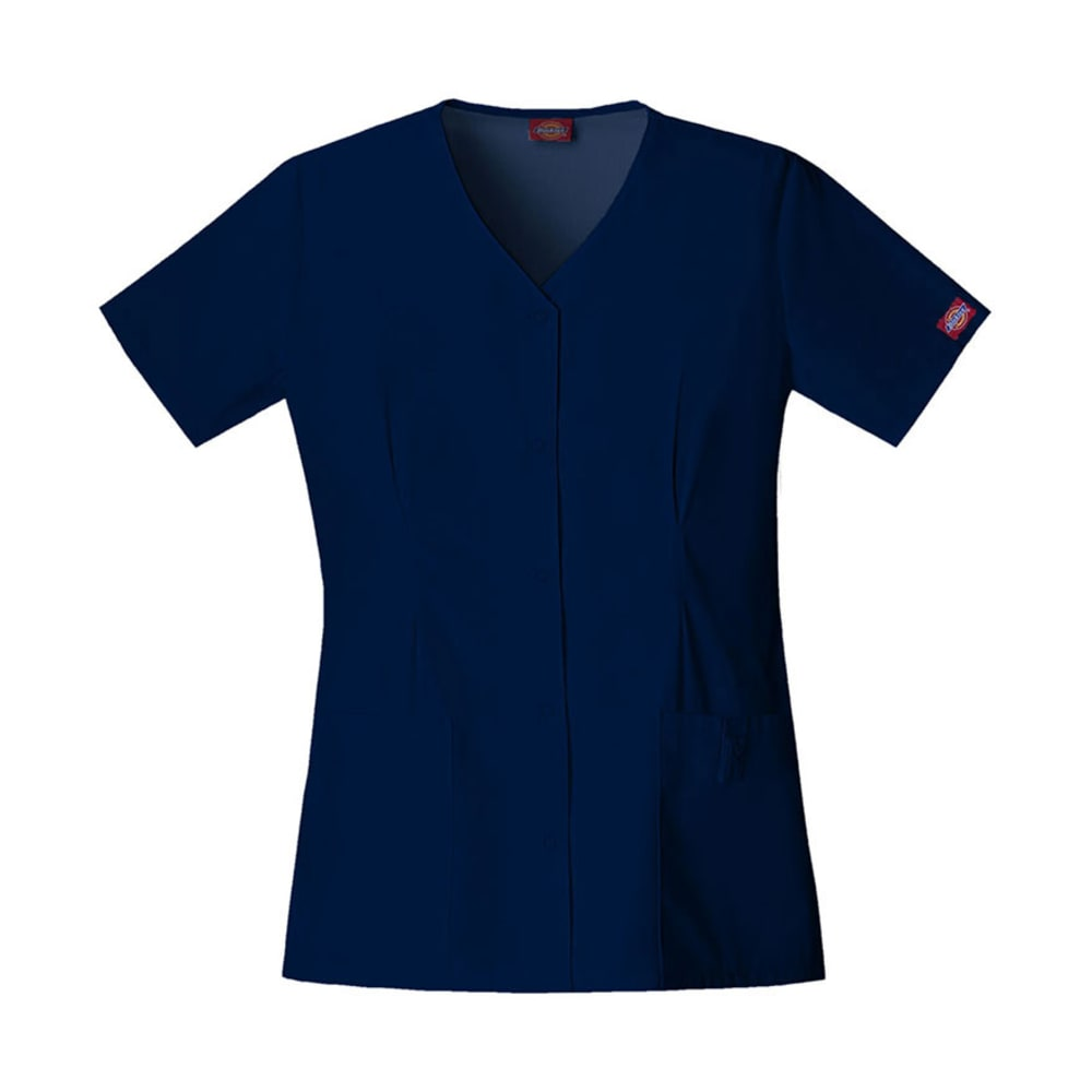 DICKIES Women's EDS Snap Front Top - NAVY