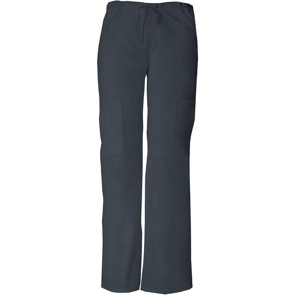 DICKIES Juniors' Everyday Scrubs Low Rise Drawstring Cargo Pants - PEWTER